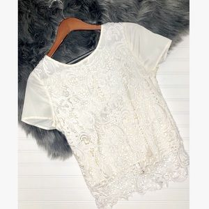 Cream Ivory Lave Top with Zipper